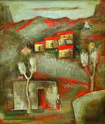 Evening landscape, canvas, oil, 100×80
