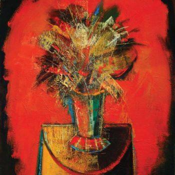 на красном фоне хм 80х70 2004 350x350 - Bouquet on a red background, oil on canvas, 80x70, 2004