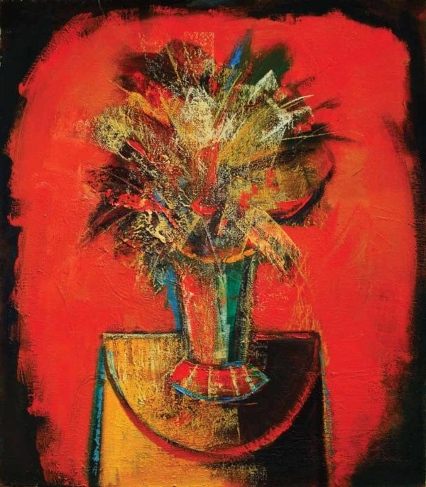 Bouquet on a red background, oil on canvas, 80×70, 2004