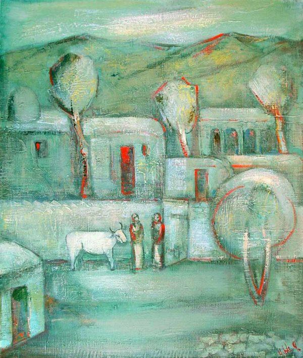 Воспоминания о моей деревне, х.м., 100х85, 1989