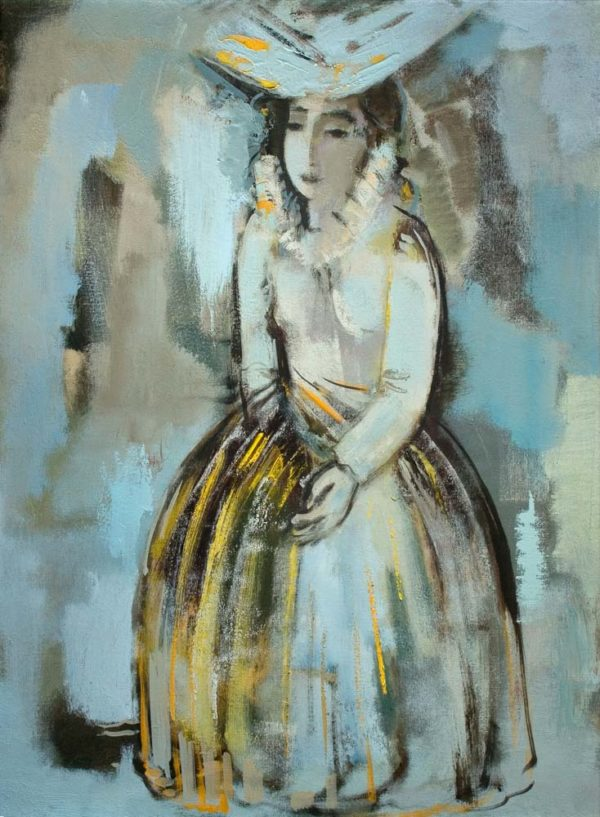 Girl in white, canvas, oil, 80х60, 2008