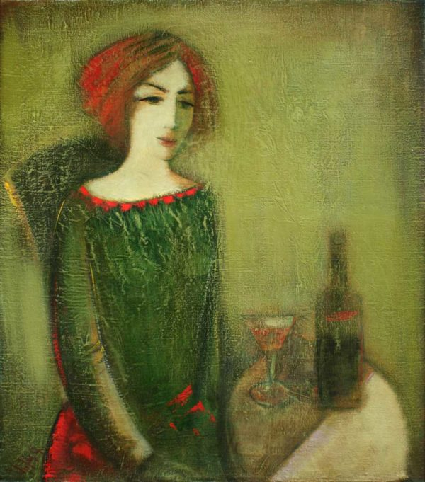 Girl in green, canvas, oil, 85х75, 1991