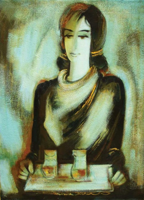 The girl with a tray, canvas, oil, 80×60, 2005