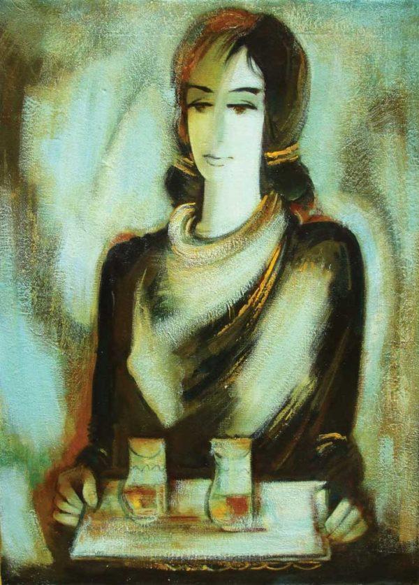 Девушка с подносом, х.м., 80х60, 2005