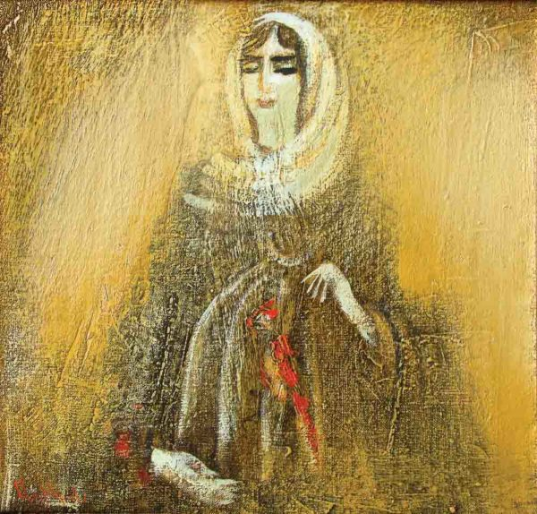Девушка с попугаем, х.м., 35х35, 2001