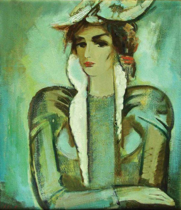 Зеленый портрет, х.м., 85х75, 1995