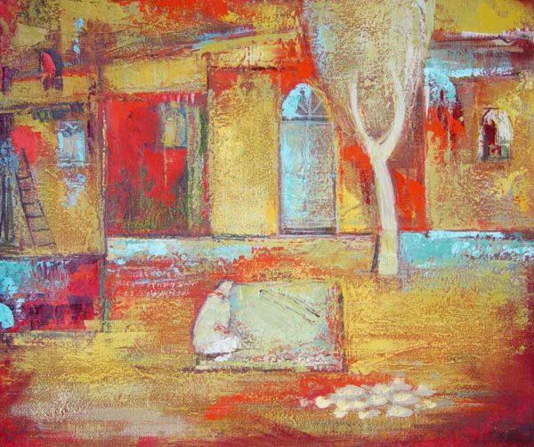 Karabakh courtyard, oil on canvas, 50×60, 2000