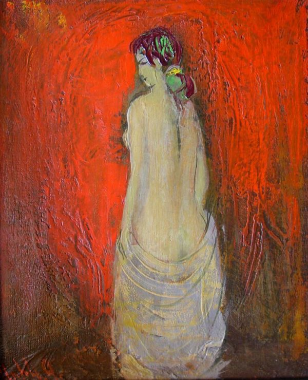 Модель на красном фоне, х.м., 30х25, 1997