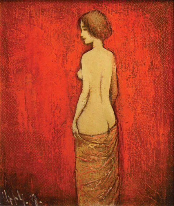 Model on a red background, oil on canvas, 35×30, 2005