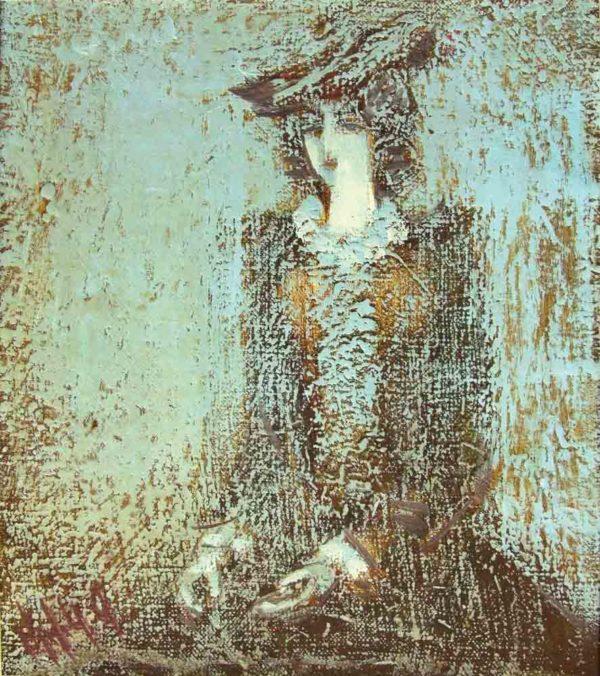Навеянный портрет, х.м., 26х23, 1999