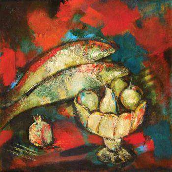 т с рыбой хм 80х80 2004 350x350 - Still Life with fish, oil on canvas, 80x80, 2004