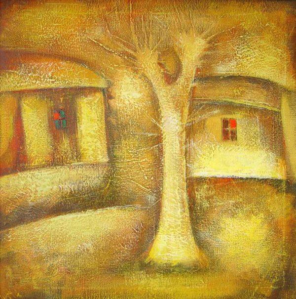 Одинокое дерево, х.м., 70х70, 1993