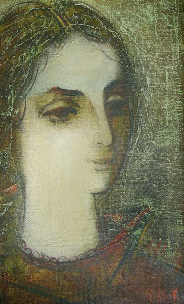 Portrait of Jeanne, oil on canvas, 50×30, 1987, private collection
