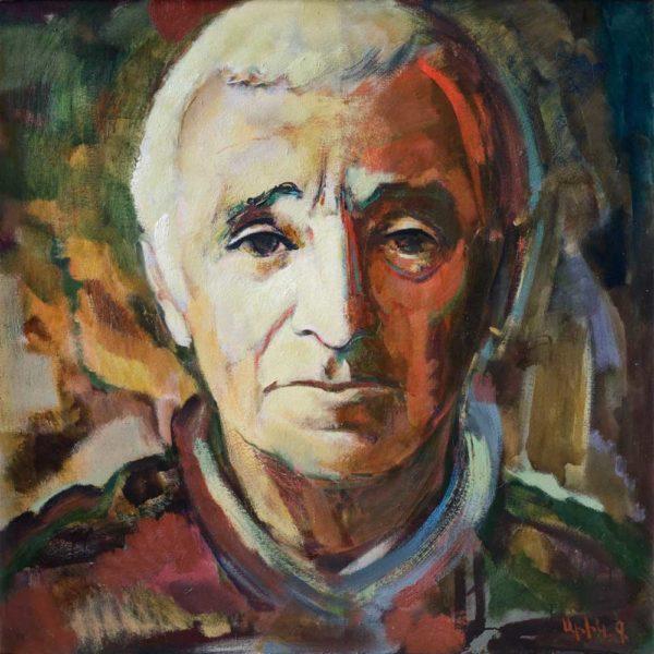 Портрет Шарля Азнавура, х.м., 100х100, 2009-2010