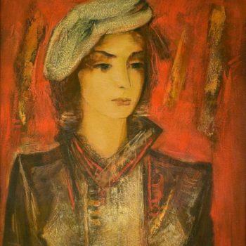 на красном фоне хм 80х65 2005 350x350 - Портрет на красном фоне, х.м., 80х65, 2005, частная коллекция