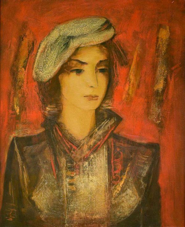 Портрет на красном фоне, х.м., 80х65, 2005, частная коллекция
