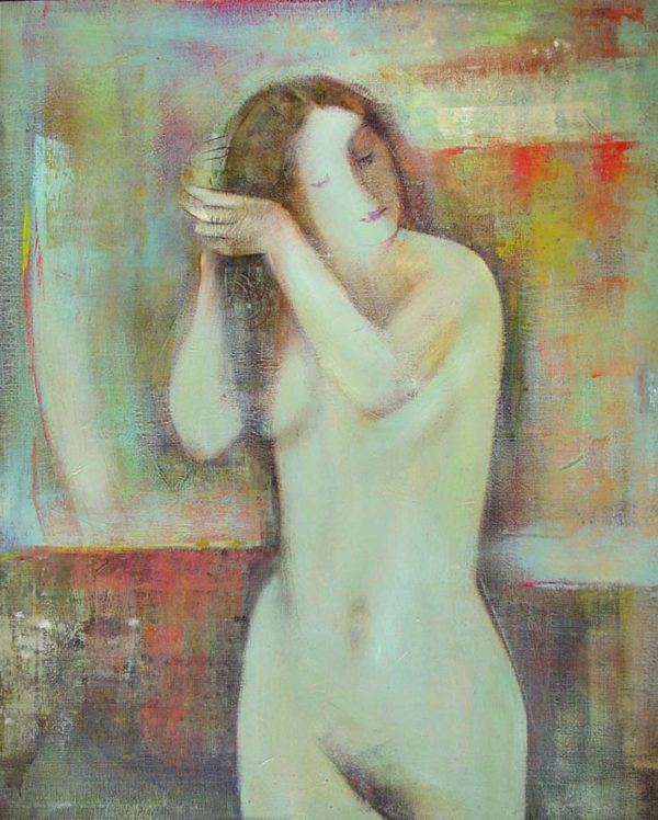 Combing her hair, oil on canvas, 110×90, 1995