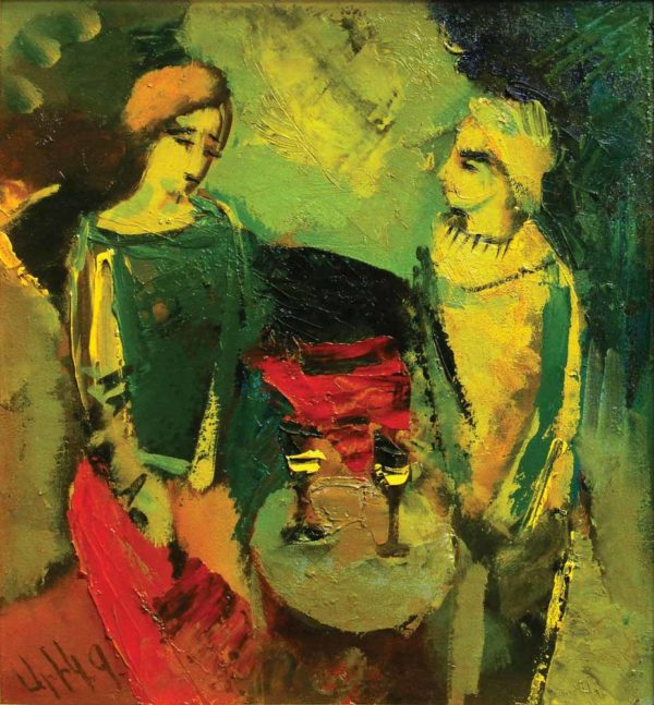 Conversation, oil on canvas, 23×21, 2004