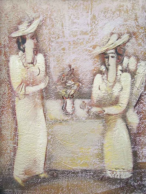 Conversation, canvas, oil, 39×29, 1995