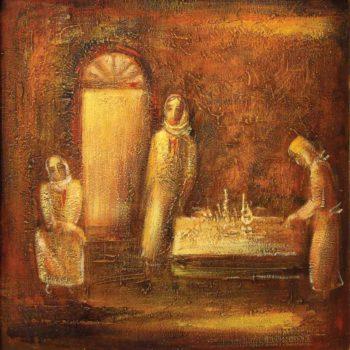 хм 70х70 1994 350x350 - Conversation, canvas, oil, 70x70, 1994