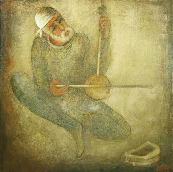 Street musician, oil on canvas, 95×85, 2005, private collection