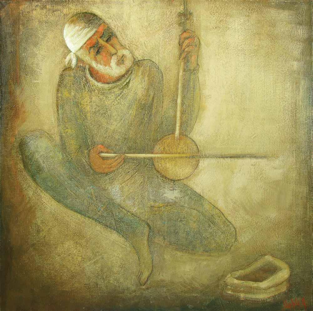 Уличный музыкант хм 95х85 2005