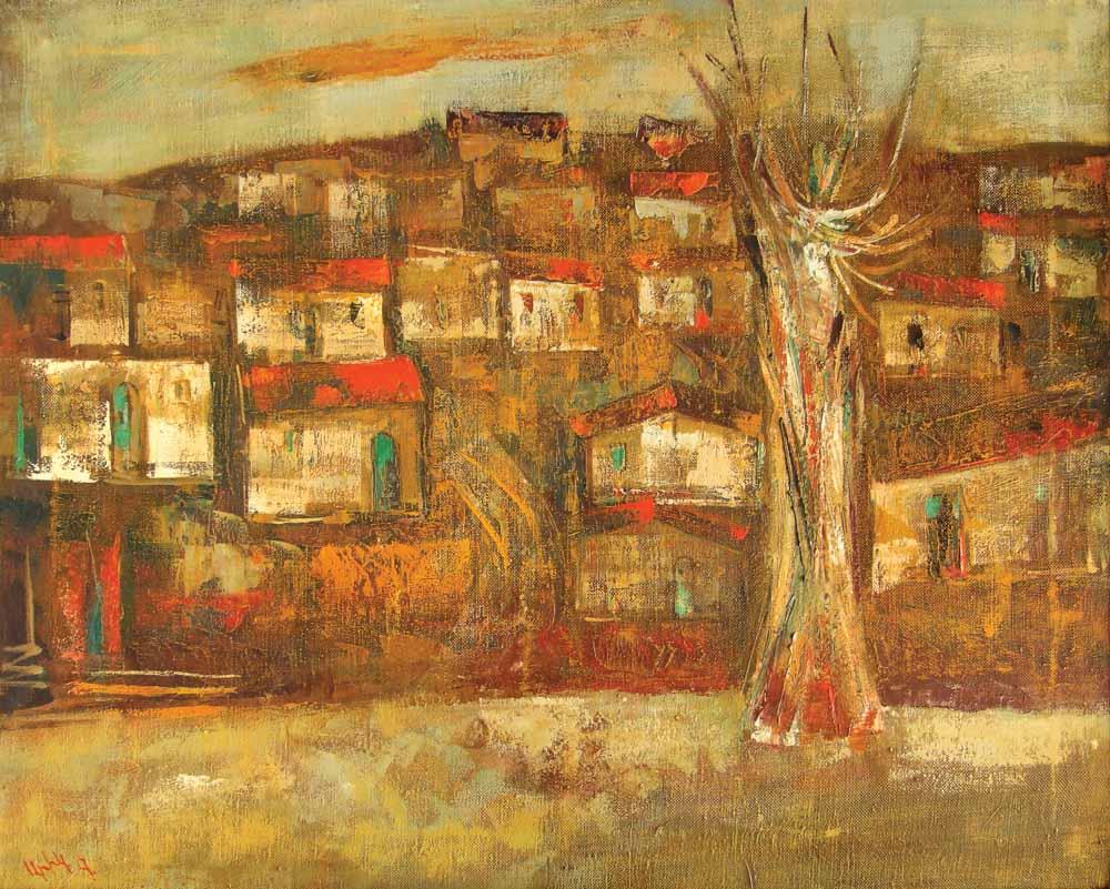 Карабах хм 80х101 1990 - Вечерний Карабах, 80х101, х.м., 1990