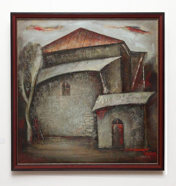 Дом с красной крышей, 100х100, х.м., 2009-2011