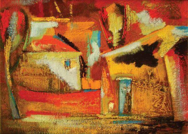 Заброшенные дома, 43х60, х.м., 2004