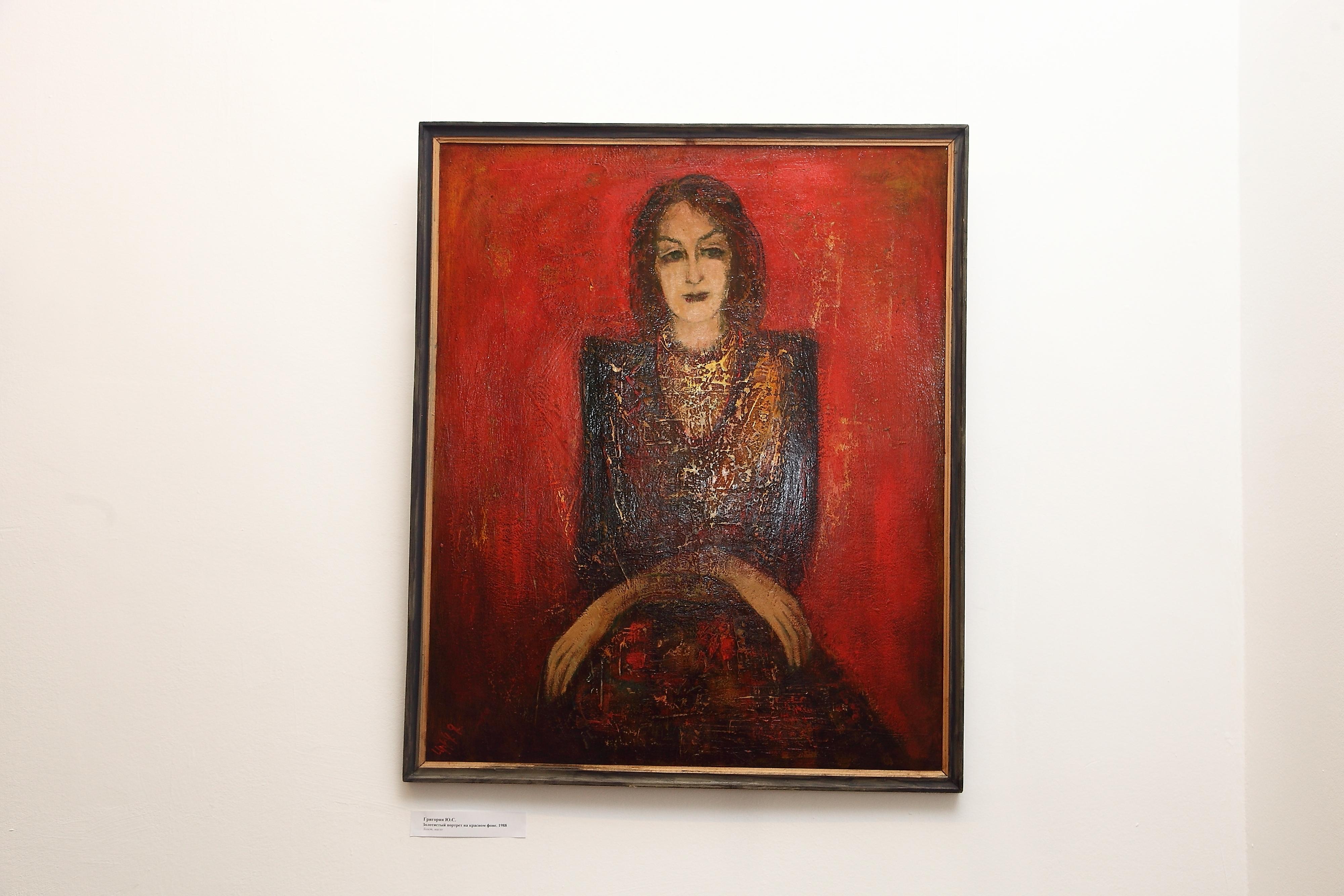 портрет на красном фоне 1988 хм - Золотистый портрет на красном фоне, 104х86, картон/масло, 1988
