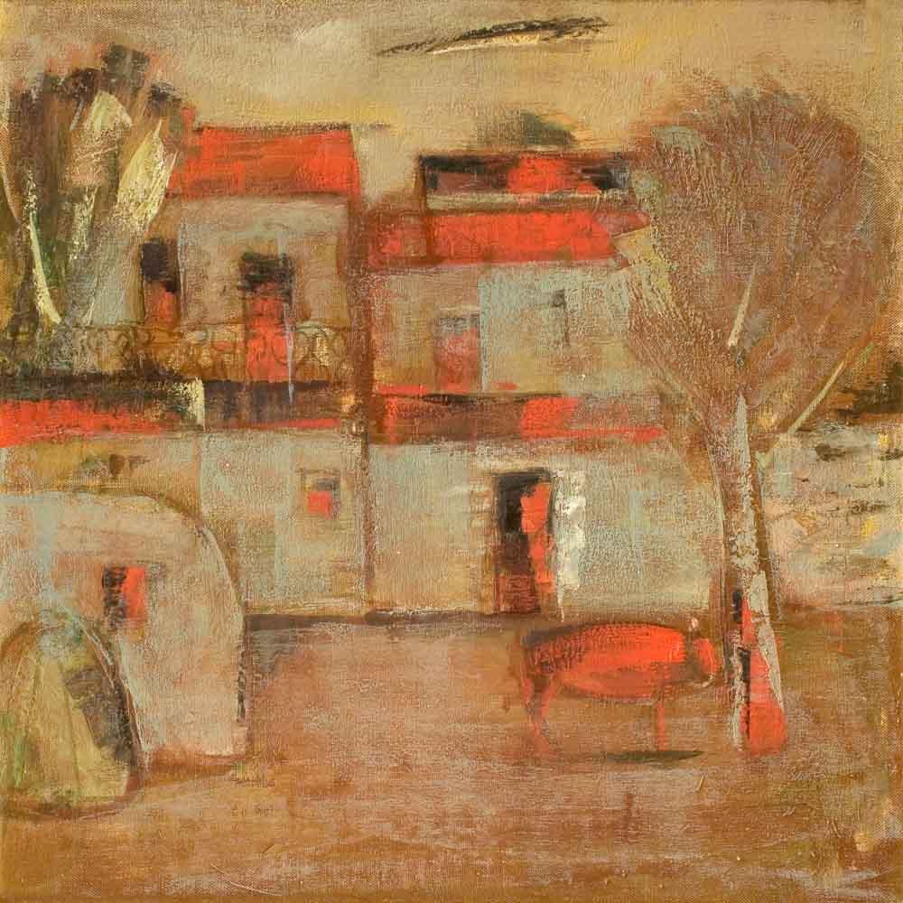 корова хм 50х50 2004 - Красная корова, 50х50, х.м., 2004