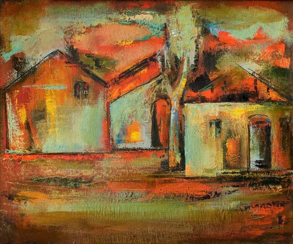 крыши хм 50х60 2002 - Красные крыши, 50х60, х.м., 2002