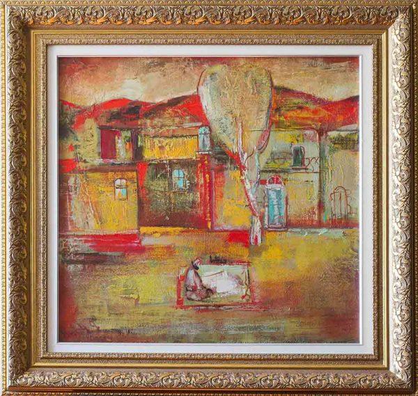 Красные крыши, 60х60, х.м., 1994