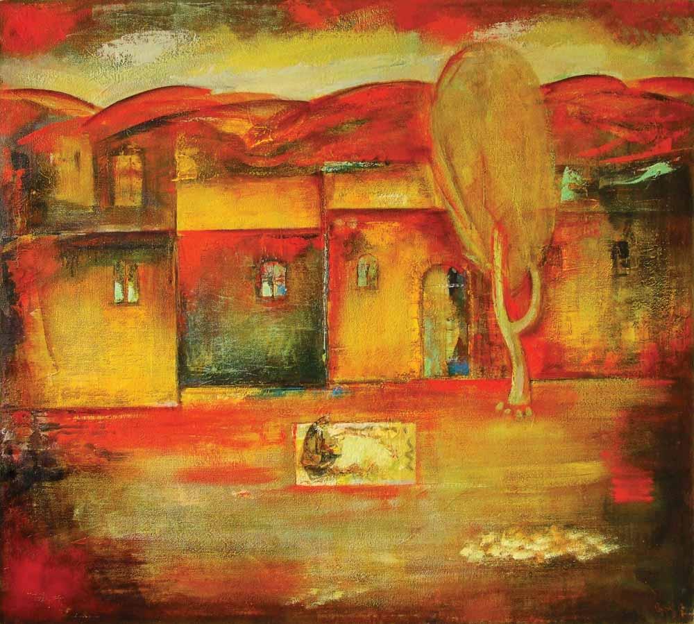 пейзаж хм 120х130 1999 - Красный пейзаж, 120х130, х.м., 1999
