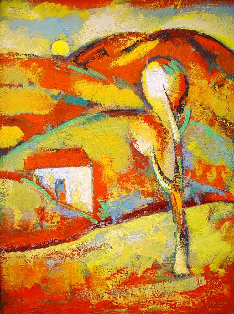 пейзаж хм 80х60 91 - Красный пейзаж, 80х60, х.м., 1991