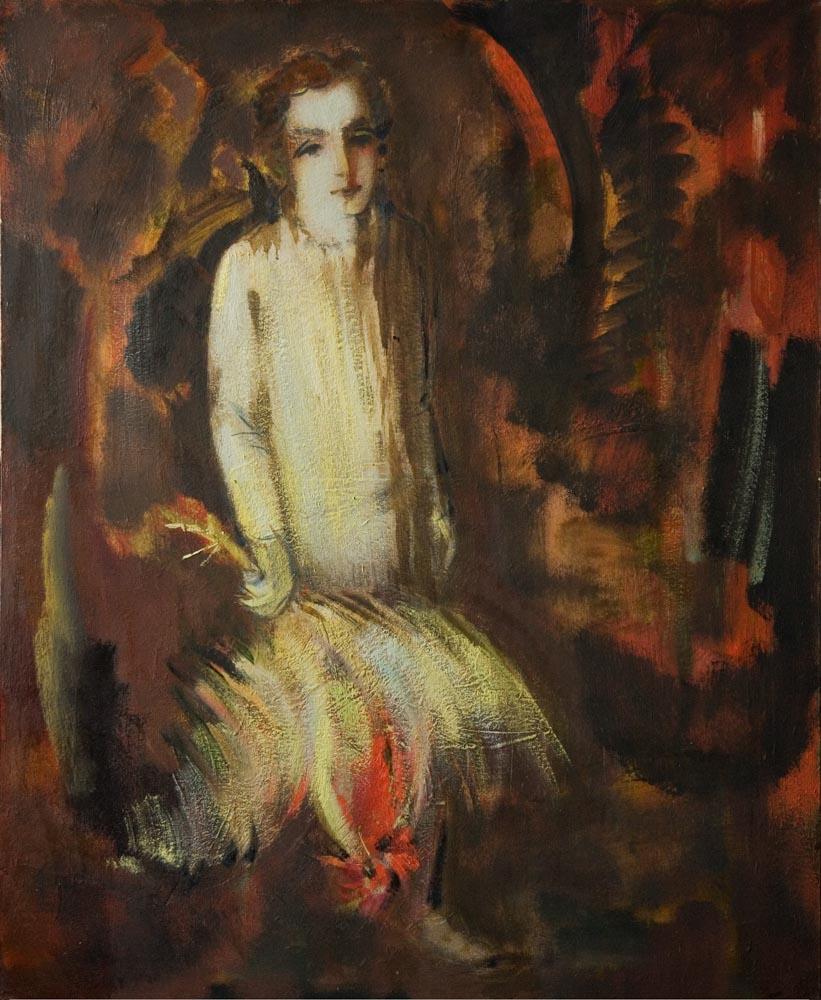 с петухом хм 100х80 2011 - Мальчик с петухом, 100х80, х.м., 2011