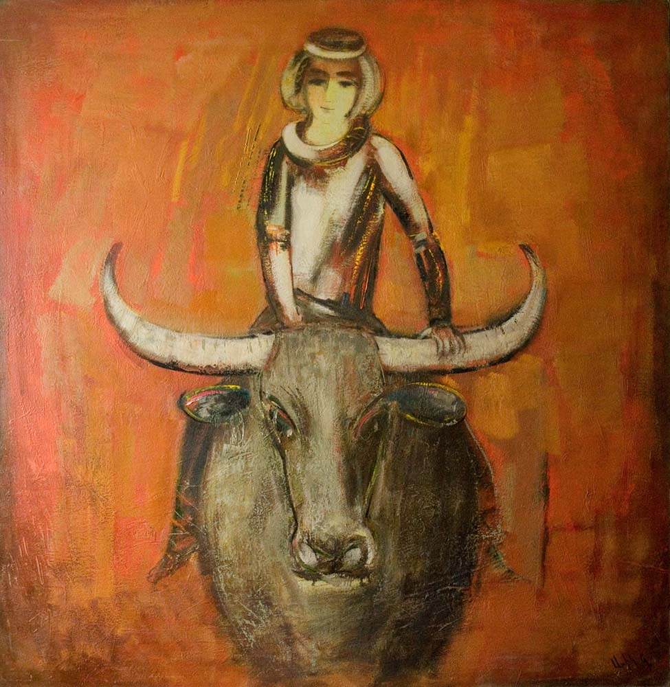 друг буйвол 2006 хм 150х140 - Мой друг буйвол, 150х140, х.м., 2006
