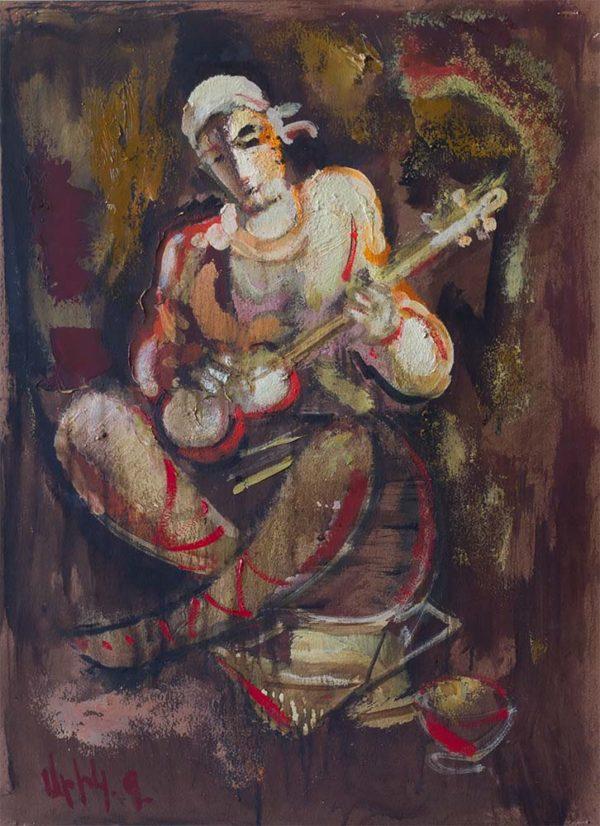 Musician, 49х35, oil on paper, 2015