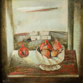 с гранатами 2005 70х70 хм 350x350 - Still-life with pomegranates, 70х70, oil on canvas, 2005