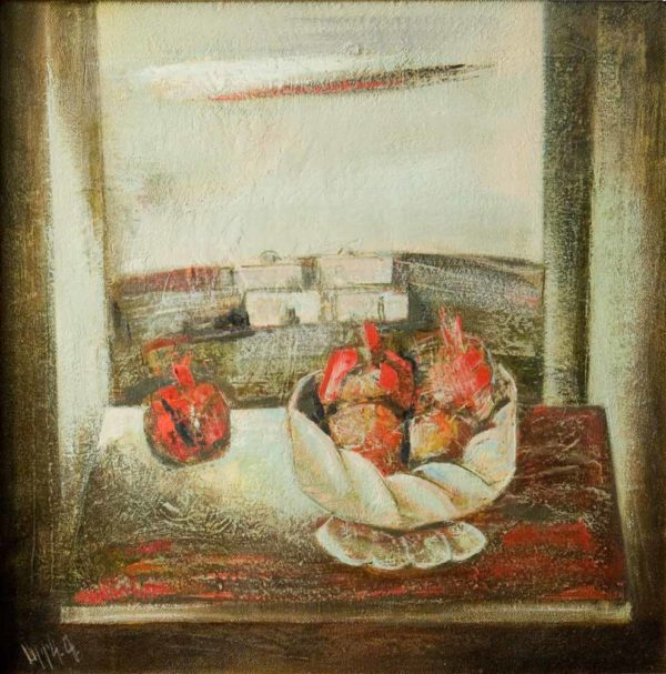 Still-life with pomegranates, 70х70, oil on canvas, 2005