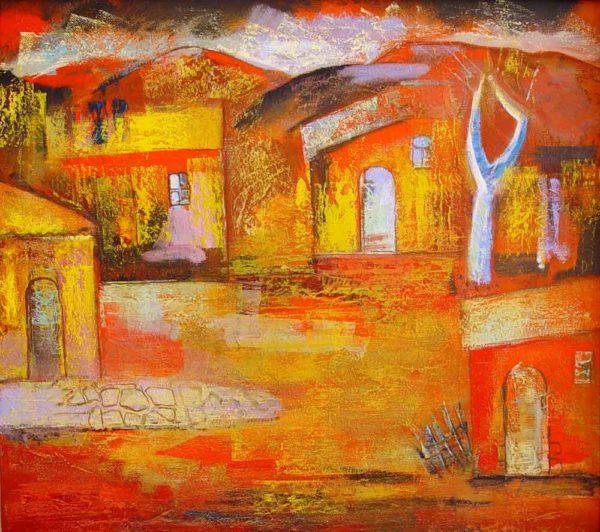 Edge of the village, 80х90, oil on canvas, 2000