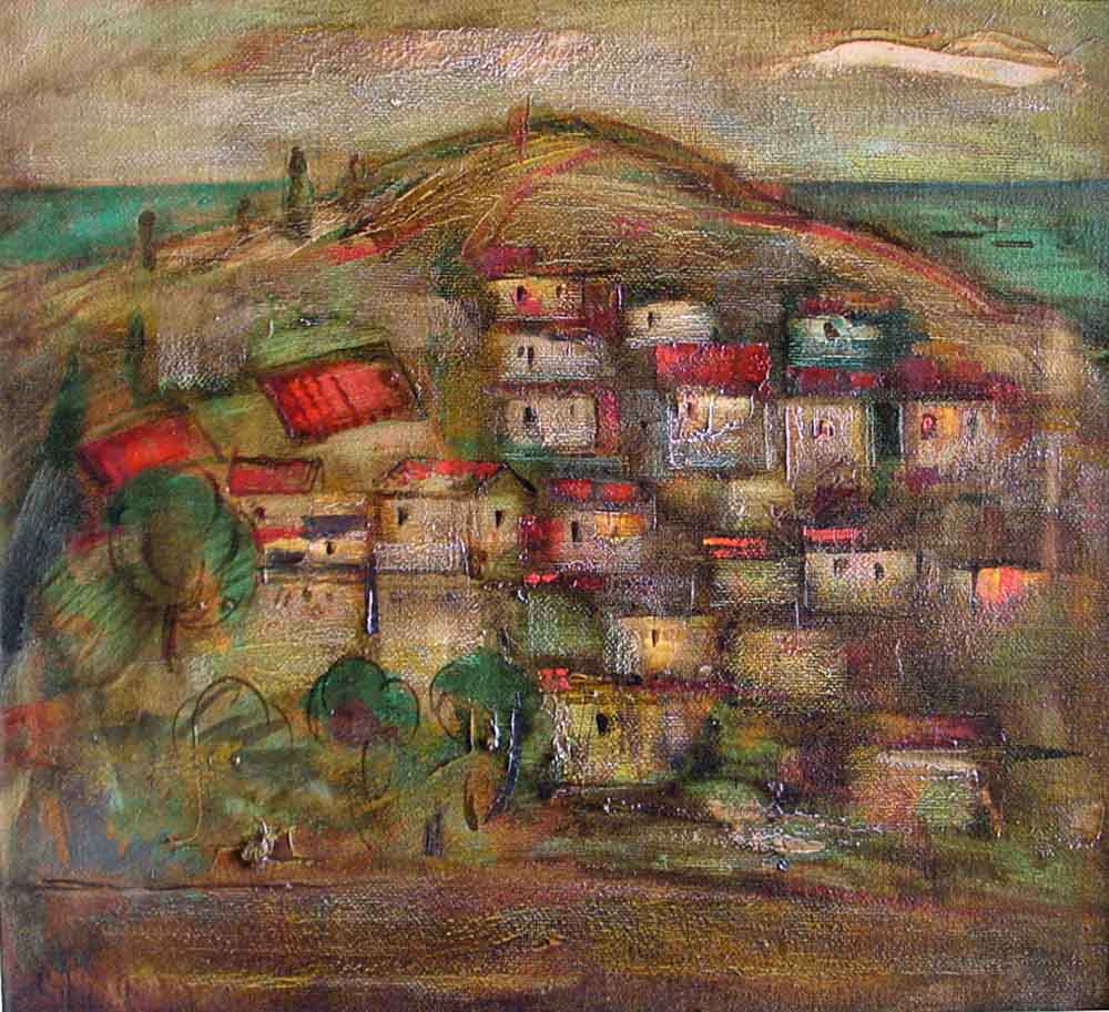 Хорватия хм 58х65 95 - Пейзаж Хорватия, 58х65, х.м., 1995