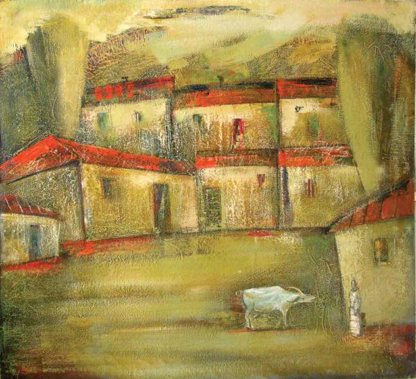 Landscape with a buffalo, 100х110, oil on canvas, 1999-2003