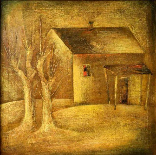 Пейзаж с тутовыми деревьями, 80х80, х.м., 2003