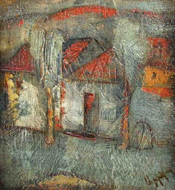 Complex Landscape, 26×24, oil on carton, 2004