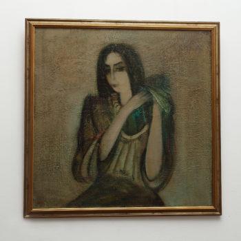 волосы х.м. 1991 80х80 350x350 - A Woman Styling Hair, 80x80, oil on canvas, 1991