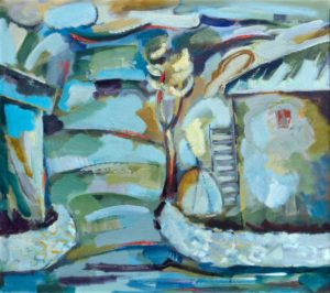 пейзаж. Холст масло. 100х110. 2010 300x266 - Голубой пейзаж. Холст, масло. 100х110. 2010