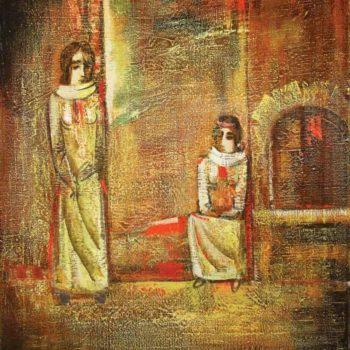 женщины хм 75х65 1993 350x350 - Two women, oil on canvas, 75x65 1993