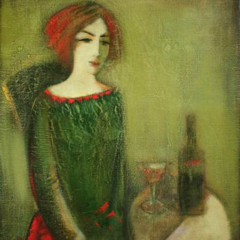 в зеленом хм 85х75 1991 350x350 - Girl in green, canvas, oil, 85х75, 1991