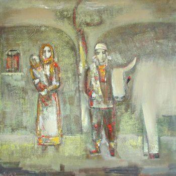односельчане хм 115х115 91 350x350 - My fellow villagers, canvas, oil, 115х115, 1991